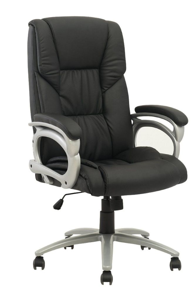 New High Back Executive Leather Ergonomic Office Chair with Metal Base