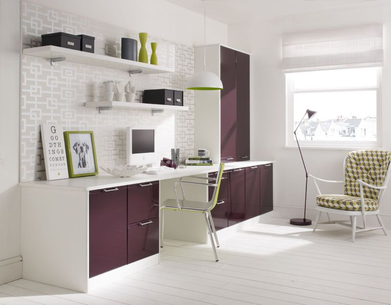 Nice white green and purple combination furniture for home office