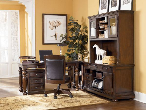 Porter Traditional Brown Wood PVC Office Furniture Set