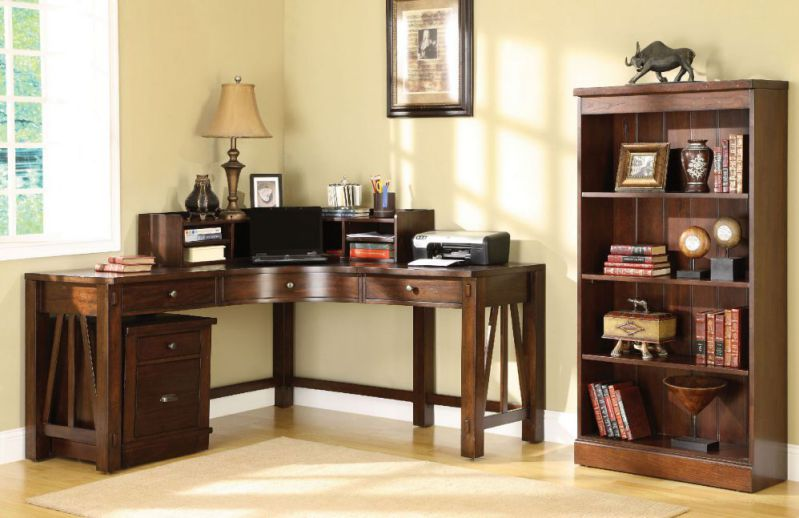 Riverside Home Office Curved Corner Desk for Home Office