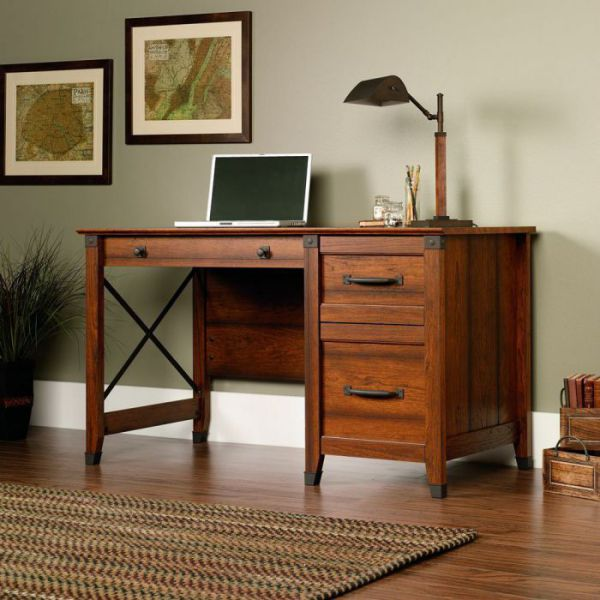 Sauder Carson Washington Cherry Finish Forge Writing Desk