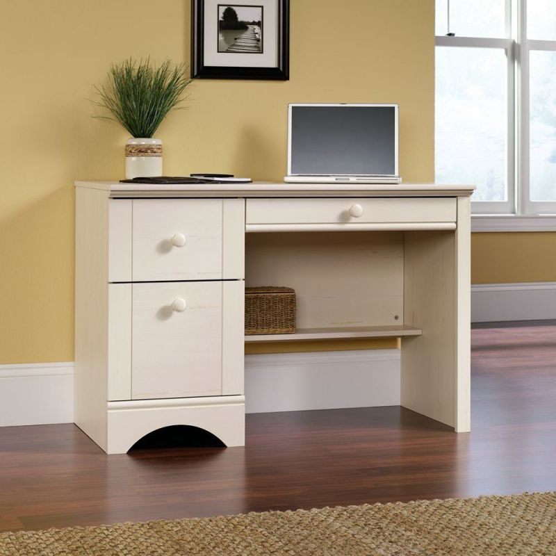 Sauder Harbor View Antique White Computer Desks for Home Office