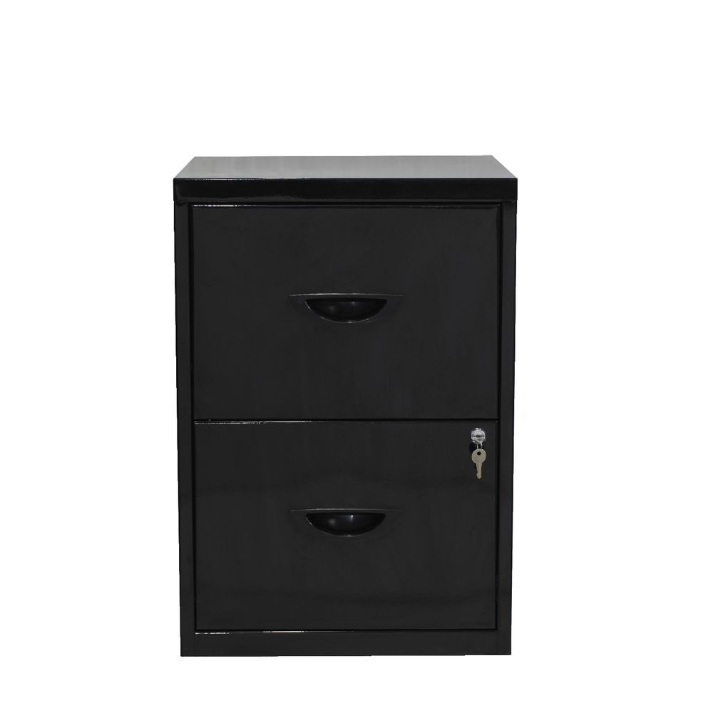 Soho 2 Drawer Metal Black Filing Cabinet