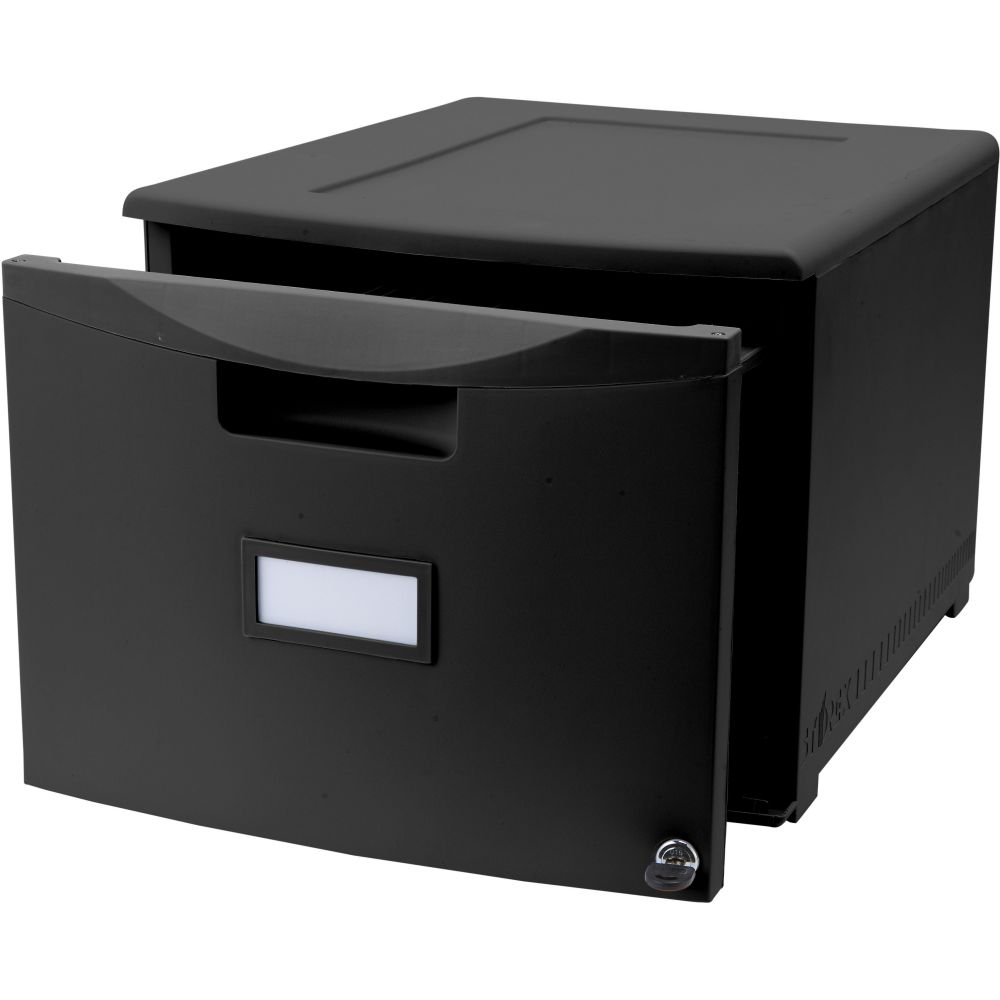 Storec One Drawer Legal Letter Black Filing Cabinet with Lock
