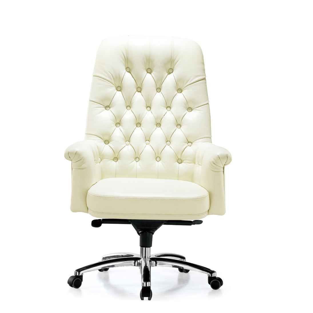 Swivel White Leather Desk Chairs for Office