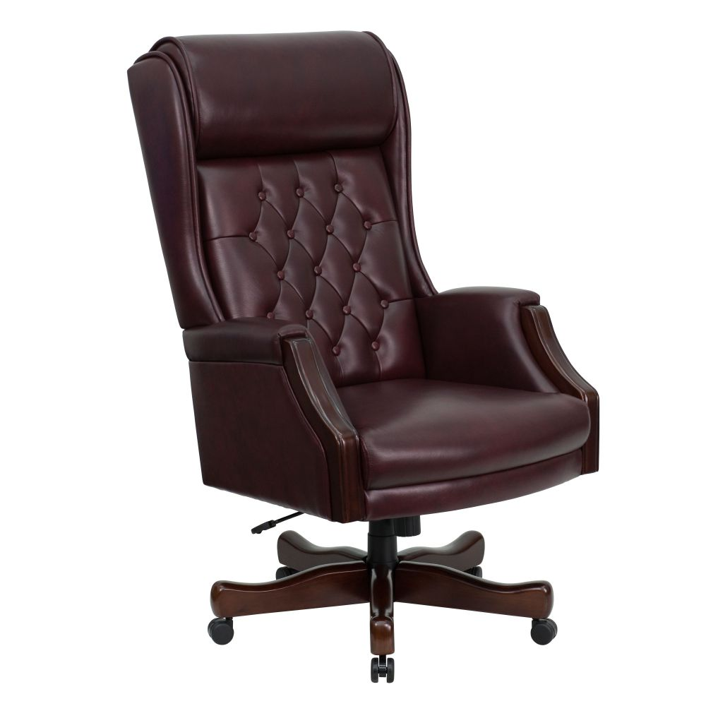 Traditional Tufted High Back Leather Office Chair