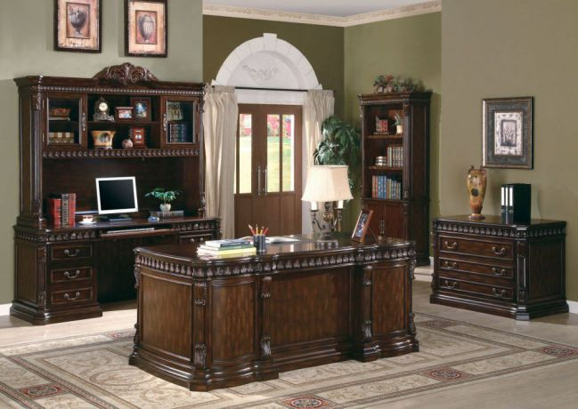 Villa Park Dark Walnut Traditional Carved Executive Home Office Furniture Sets