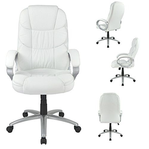 White High Back Leather Executive Office Desk Task Computer Chair with Metal Base