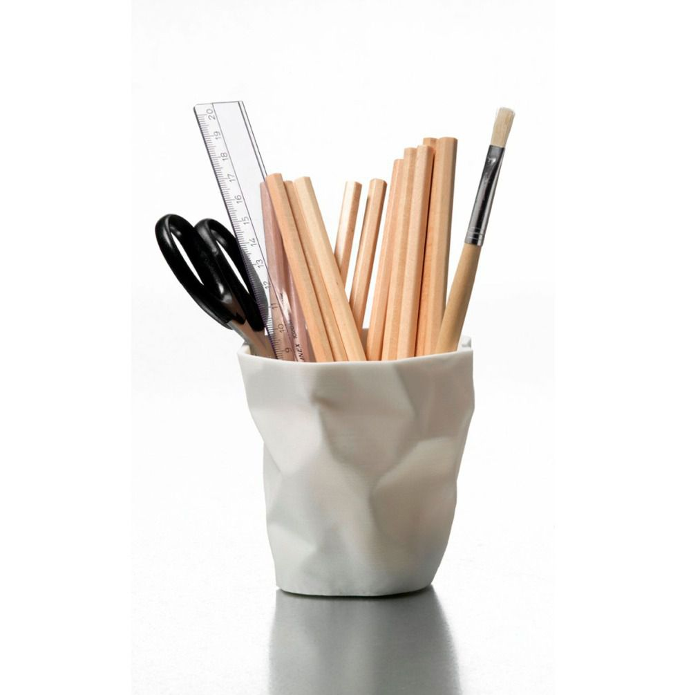 White Plastic Deks Pencil Holder with Paper Crumpled Design