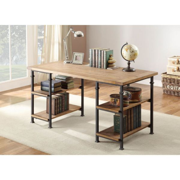 Wood Top Traditional Writing Desk with Iron Legs