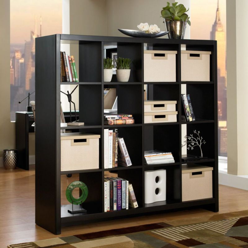 Wooden black home office bookshelf