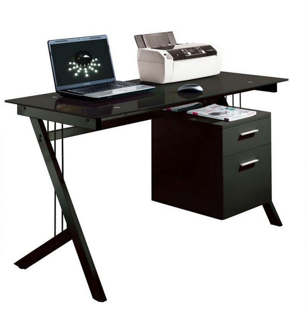 glass top black computer desks for home office