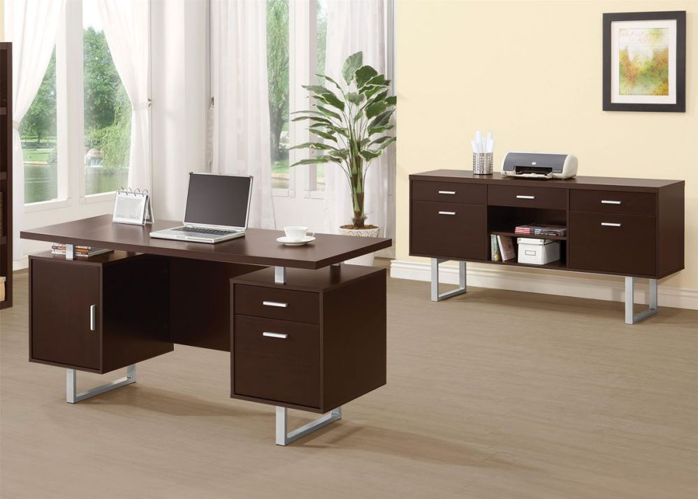 glavan double pedestal office desk with metal sled