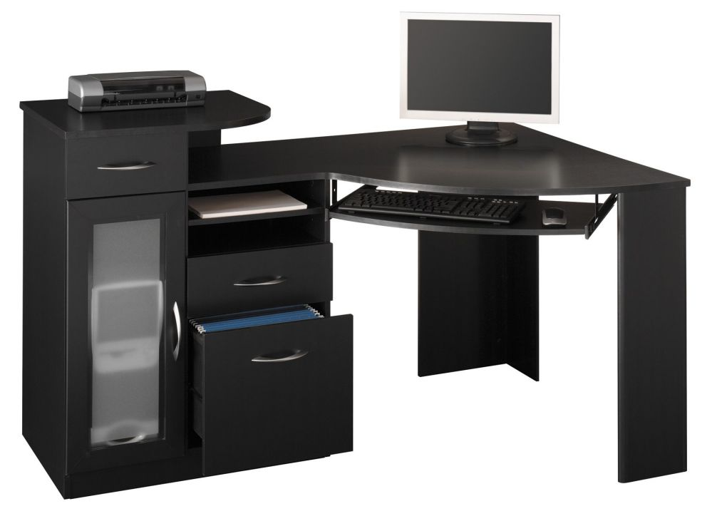 large black computer desk for corner