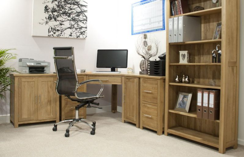 large corner desk home office in wooden