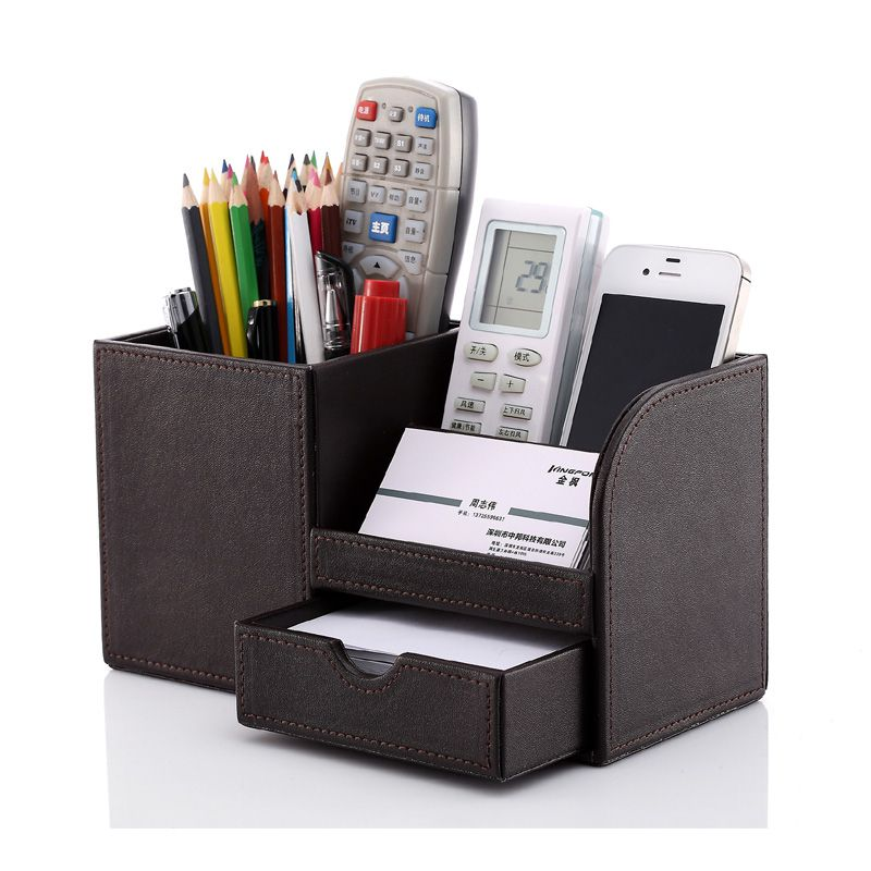 leather multi-functional home office desk stationery organizer