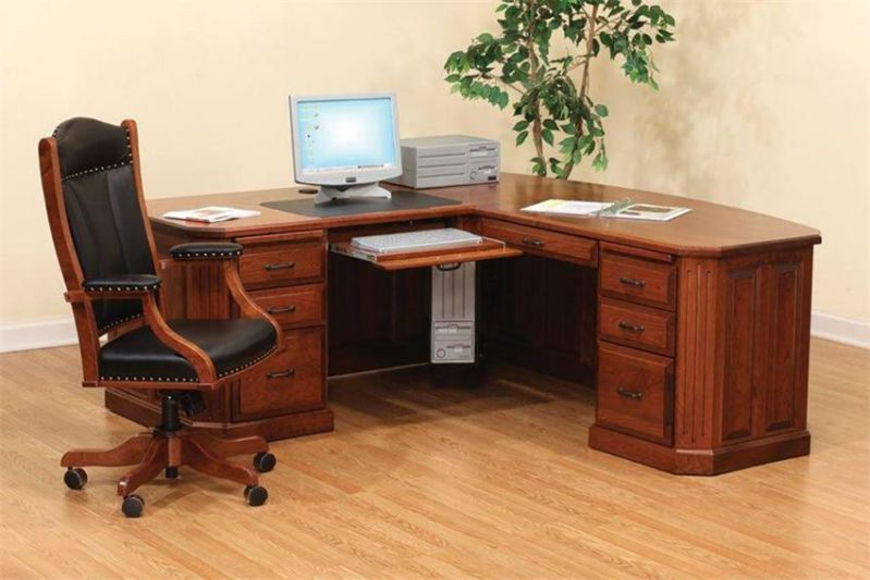 natural cherry wood computer desk with storage