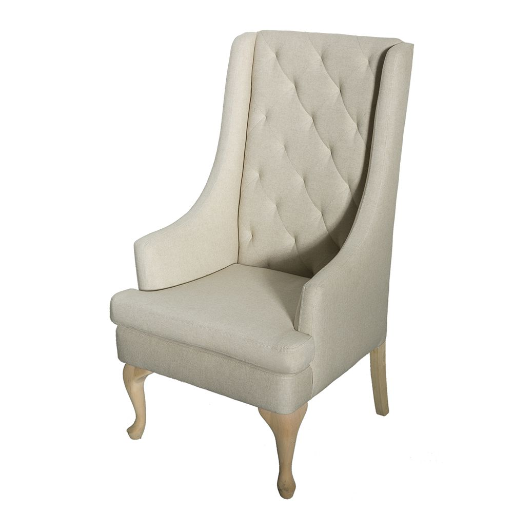 oatmeal tone high backed chair