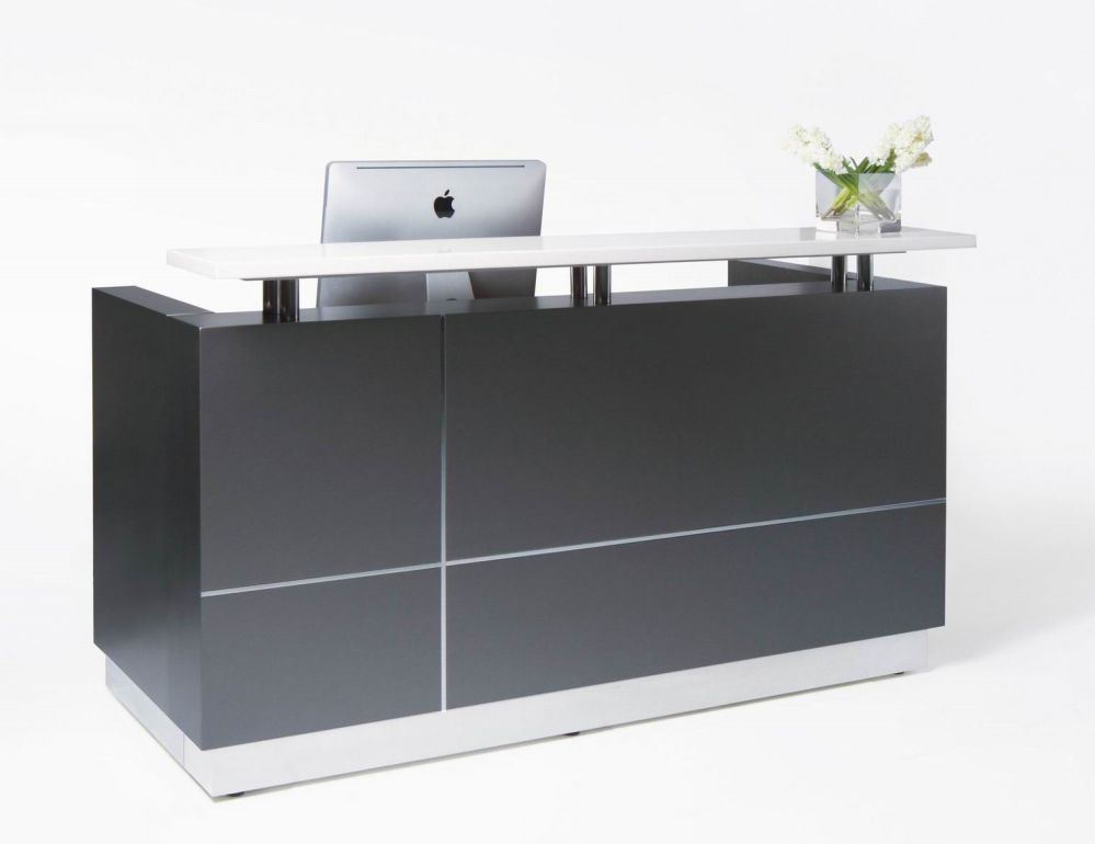 reception counter design with glass table top