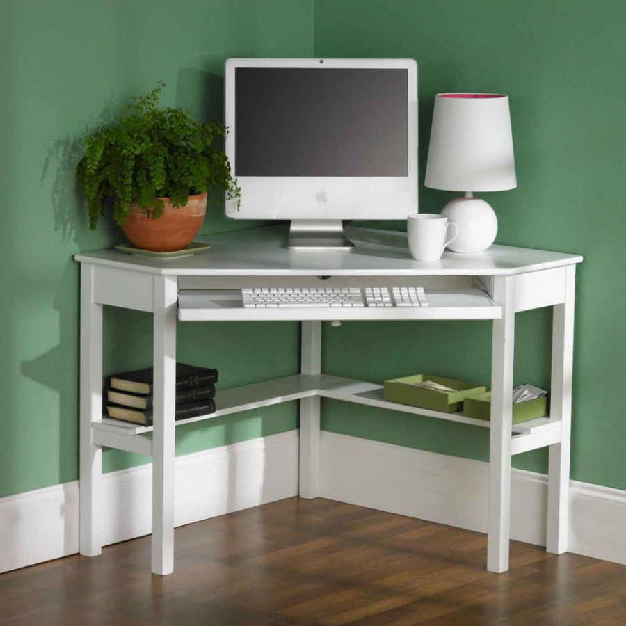 white corner computer desks for small area