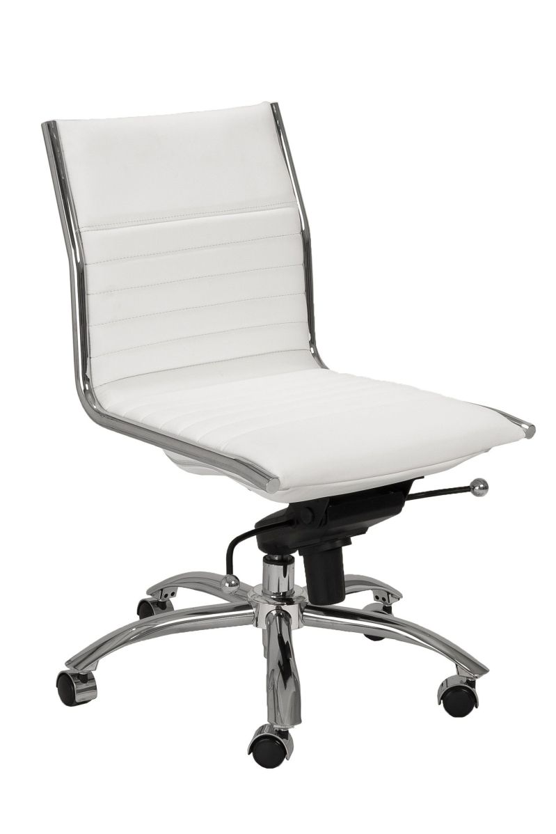 white leather armless office chair for home office