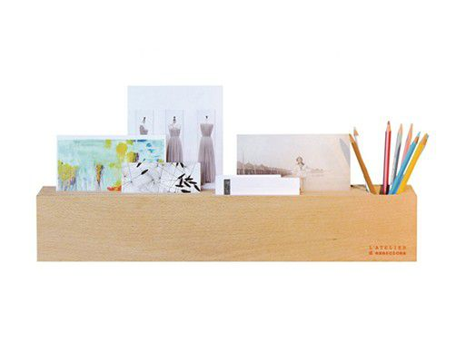 wooden block office desk organizer