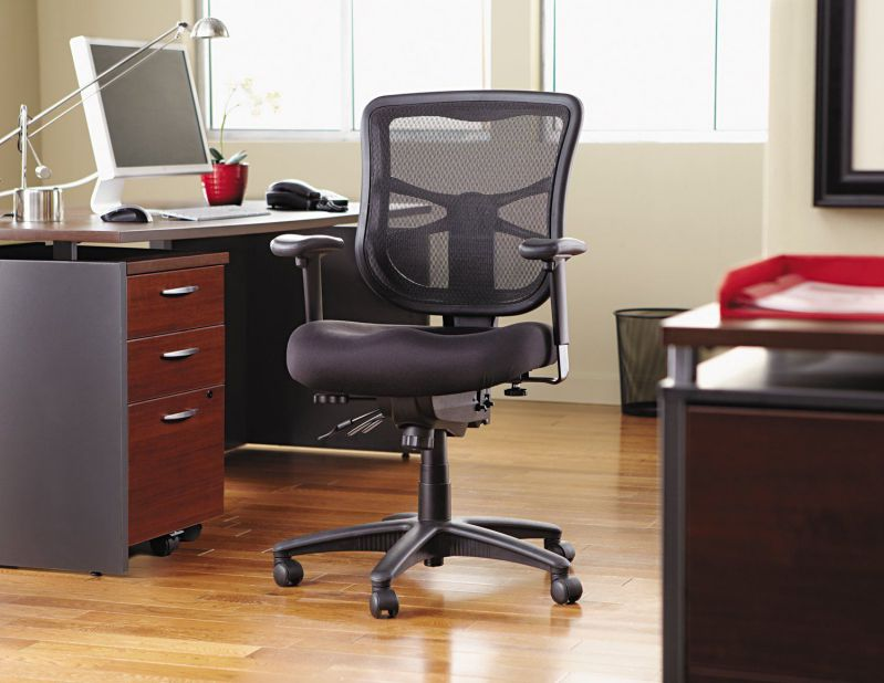 Alera Elusion Series Mesh Mid-Back Multifunction Home Office Chair, Black