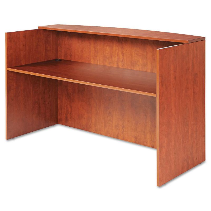 Alera VA327236MC Valencia Series Reception Desk with Counter in Medium Cherry