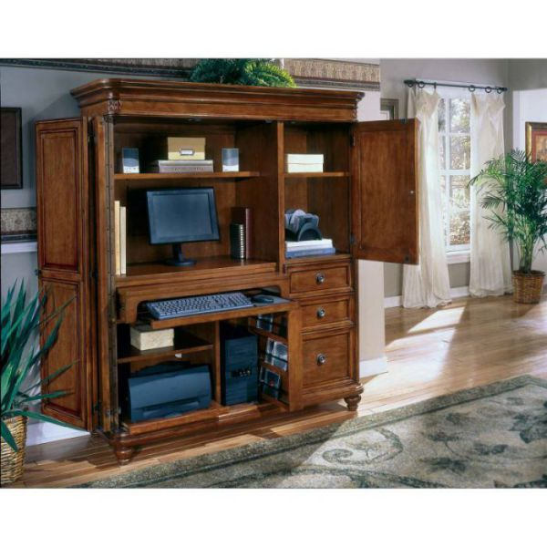 Antigua mission style computer armoire by Flexsteel Contract