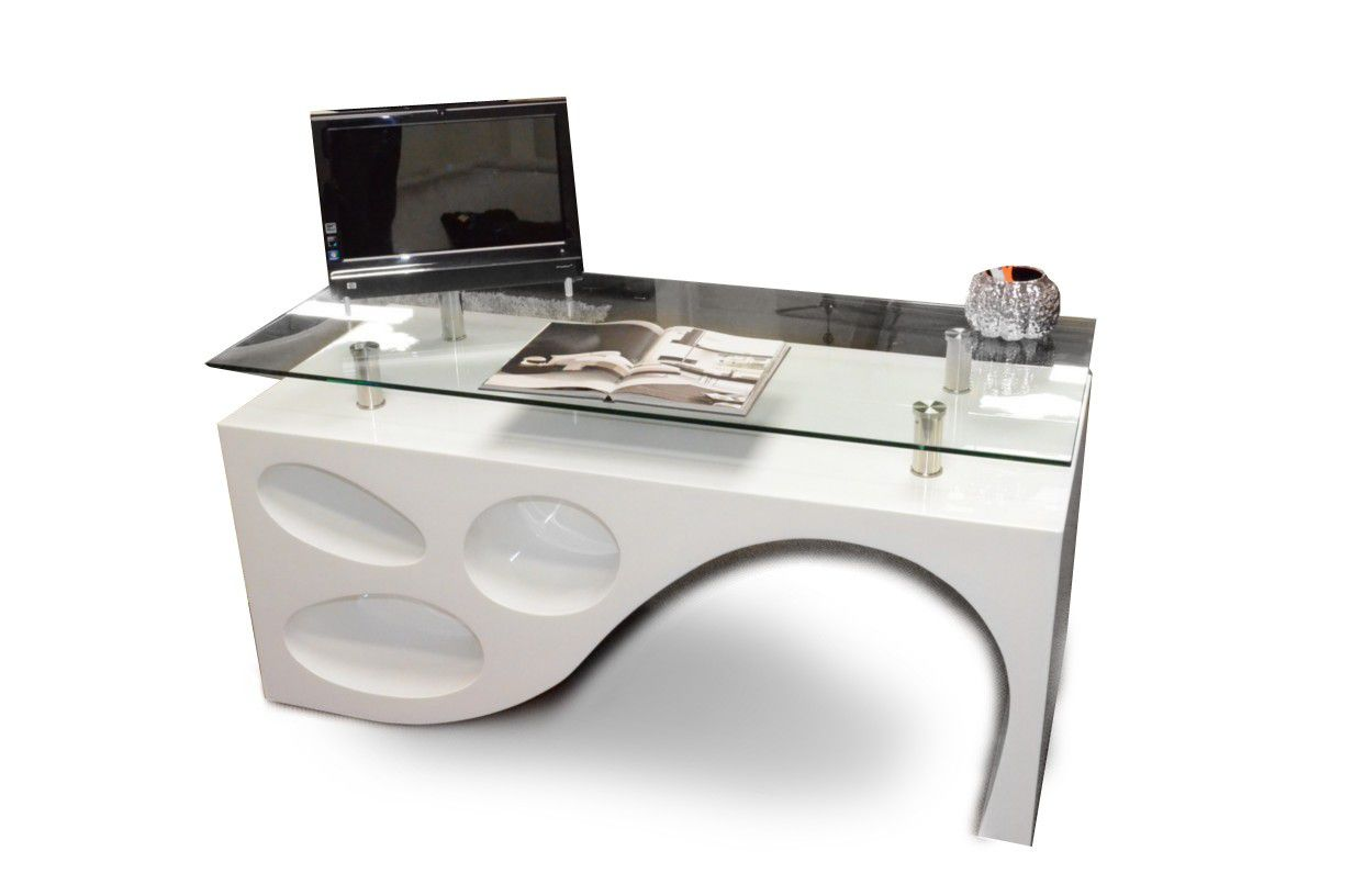 Asymmetrical white glass top computer table for home office