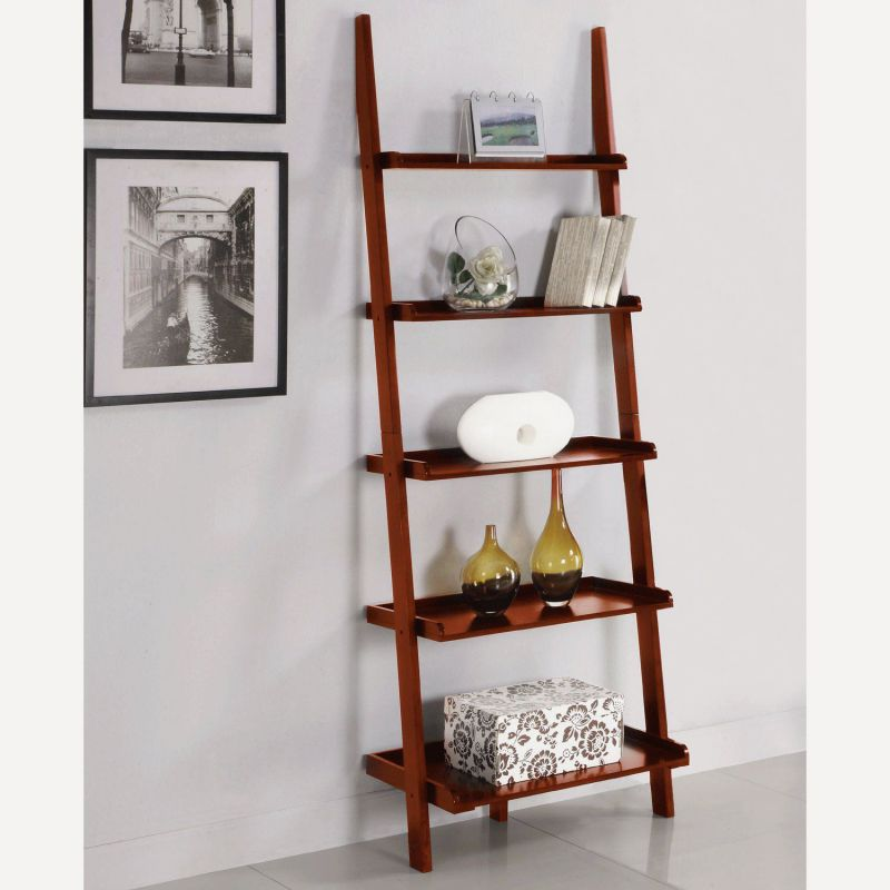 AtHomeMart Leaning Ladder Bookshelf in Cherry Finish