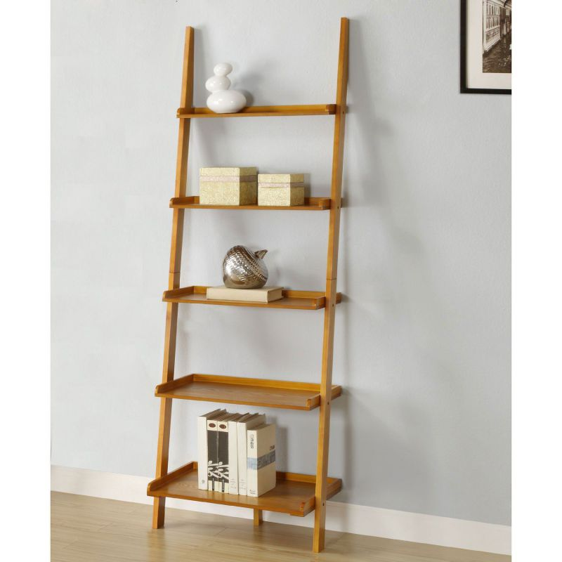 AtHomeMart Leaning Ladder Bookshelf in Oak Finish