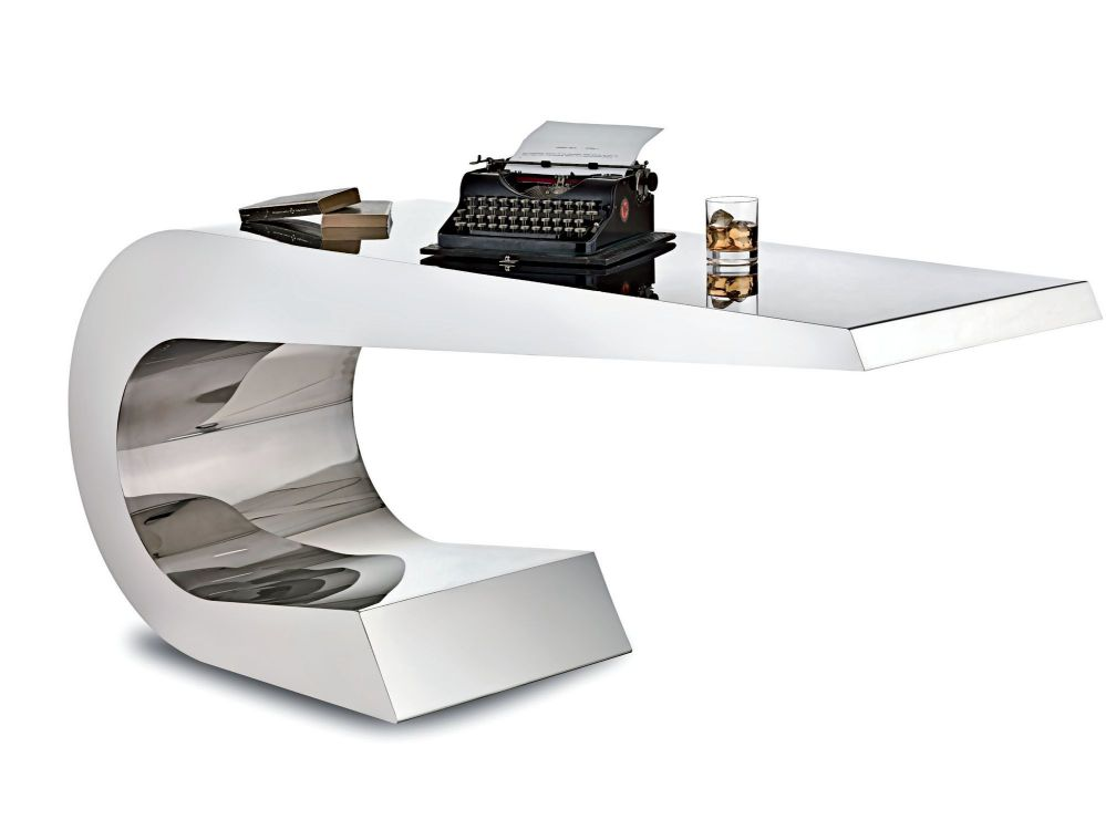Contemporary desk stainless steel ONDA C Lamberti Decor