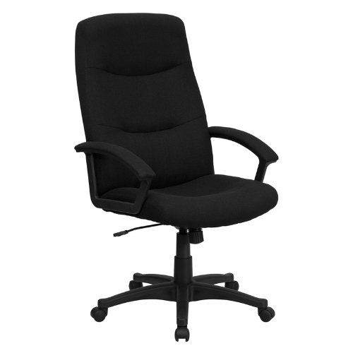 Flash Furniture BT-134A-BK-GG High Back Black Fabric Executive Swivel Office Chair