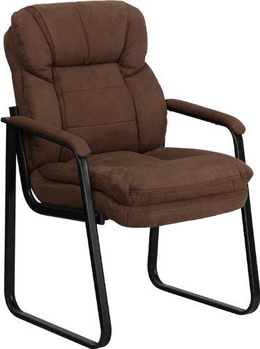 Flash Furniture GO-1156-BN-GG Brown Microfiber Executive Side Chair with Sled Base