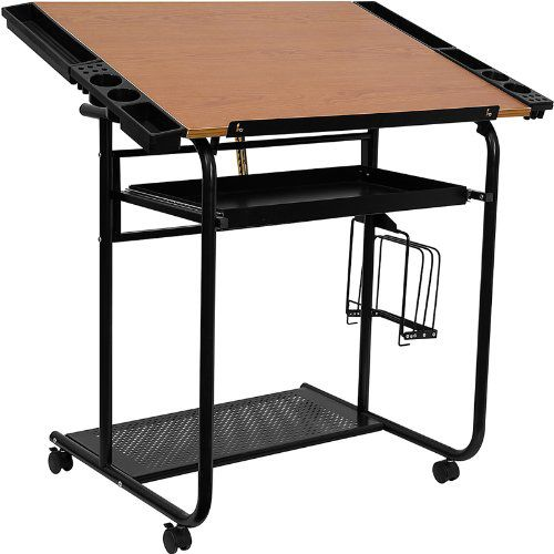 Flash Furniture NAN-JN-2739-GG Adjustable Drawing Drafting Table with Black Frame and Dual Wheel Casters