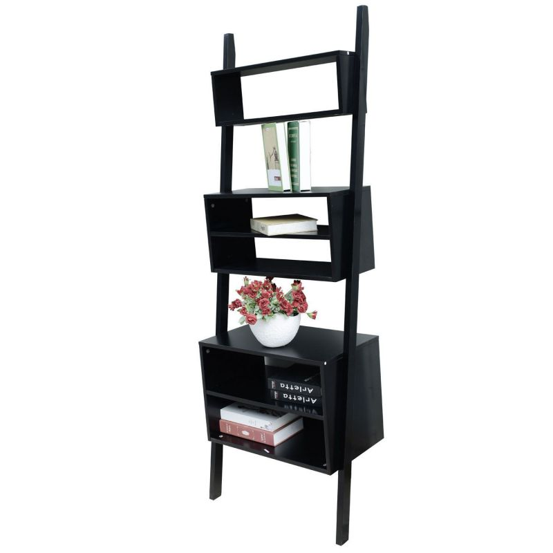 HomCom 72-inch 3 Tier Leaning Ladder Storage Cabinet Display Bookcase Shelf - Black