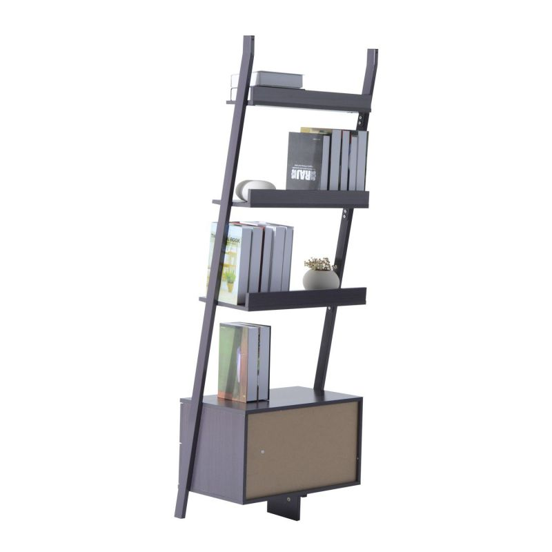 Homcom Ladder Bookcase 4 Tier - Brown