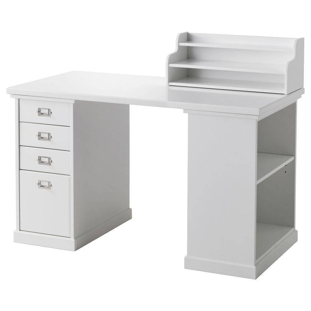 IKEA Klimpen white reception desk with storage