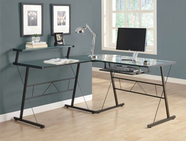 Monarch Black Metal L-Shaped Computer Desk with Tempered Glass