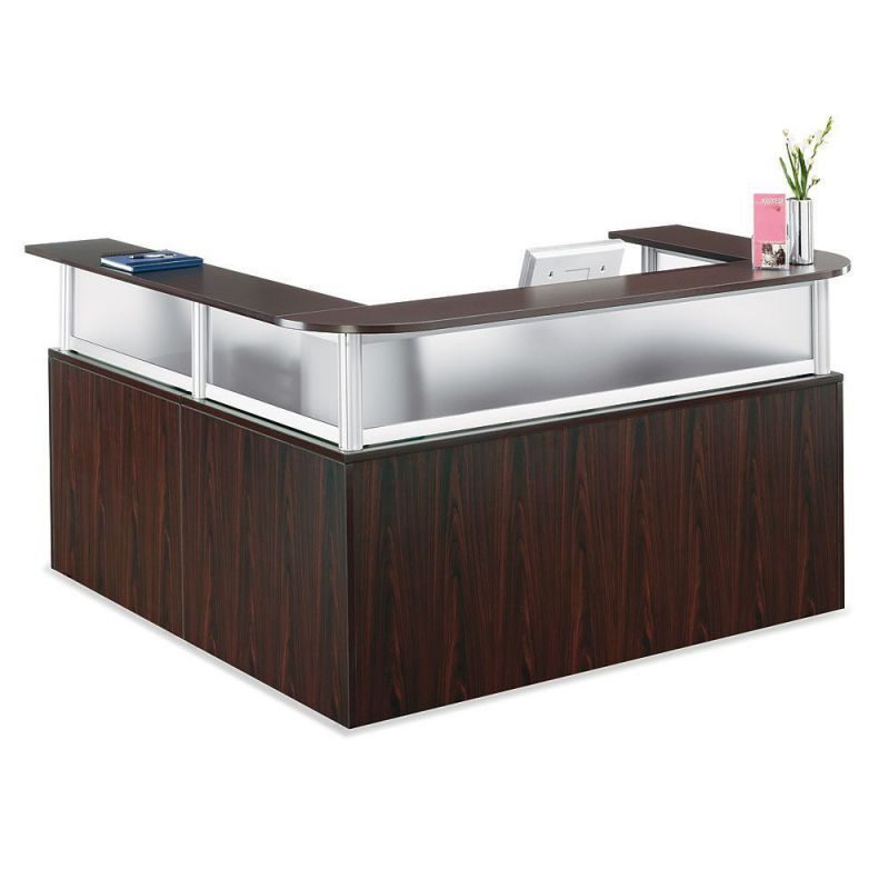 Officient Neoterik L-shaped Reception Desk with Mobile Pedestal