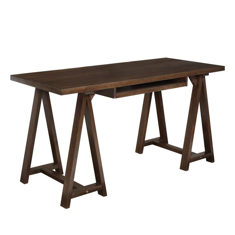 Simpli Home Sawhorse Office Desk, Medium Saddle Brown