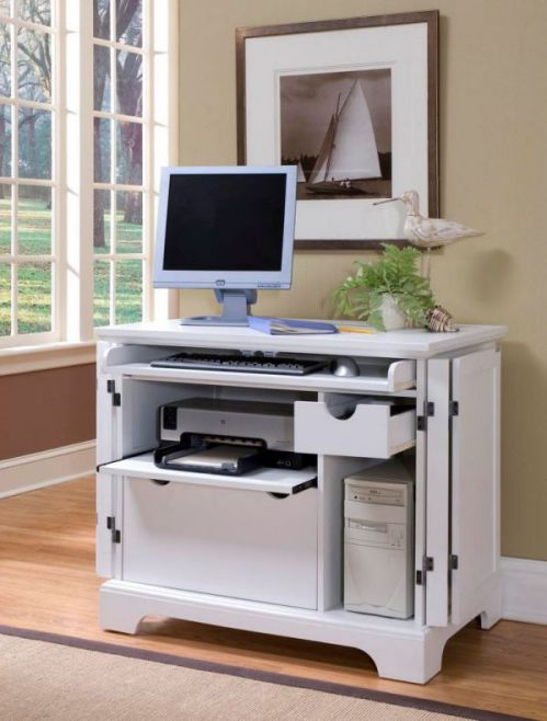 Small white armoire for home office