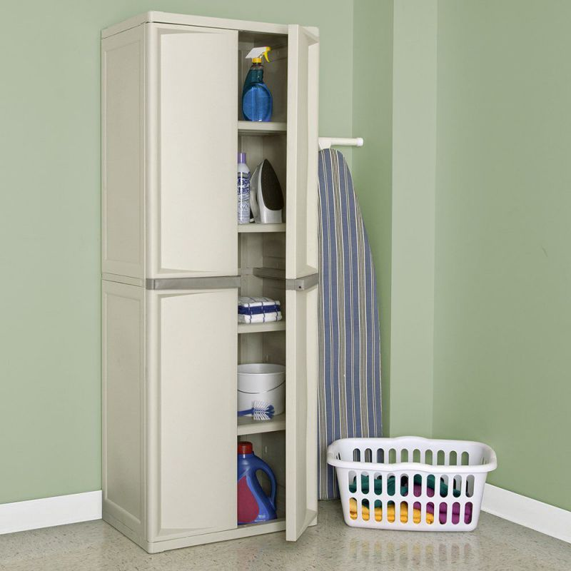 Sterilite 4-Shelf Cabinet with Putty Handles, Platinum