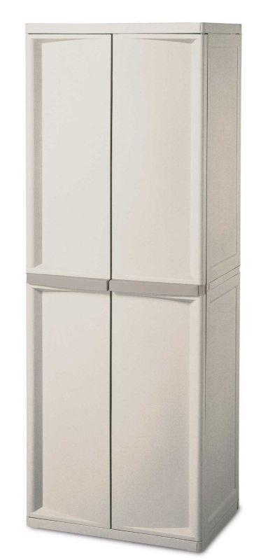 Sterilite 01428501 4-Shelf Cabinet with Putty Handles, Platinum