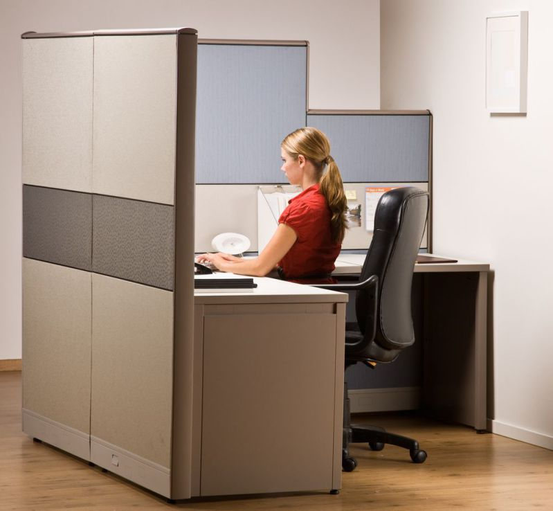 Tall office cubicle for more privacy