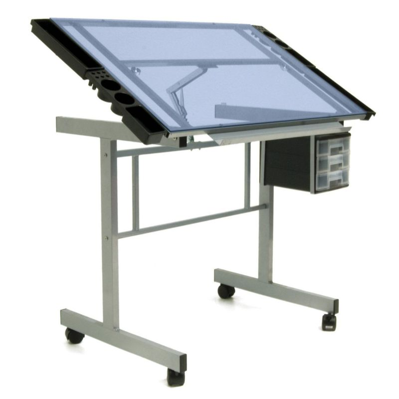 Vision Craft Station in Silver Blue Glass