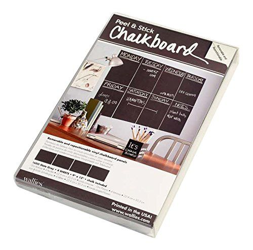 Wallies Peel and Stick Chalkboard Sheet, Slate Gray, Set of 4