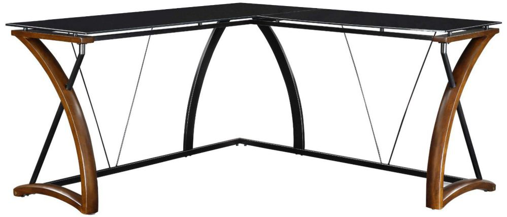 Whalen Furniture JCS110605-D Newport Wood Glass L-Shaped Desk