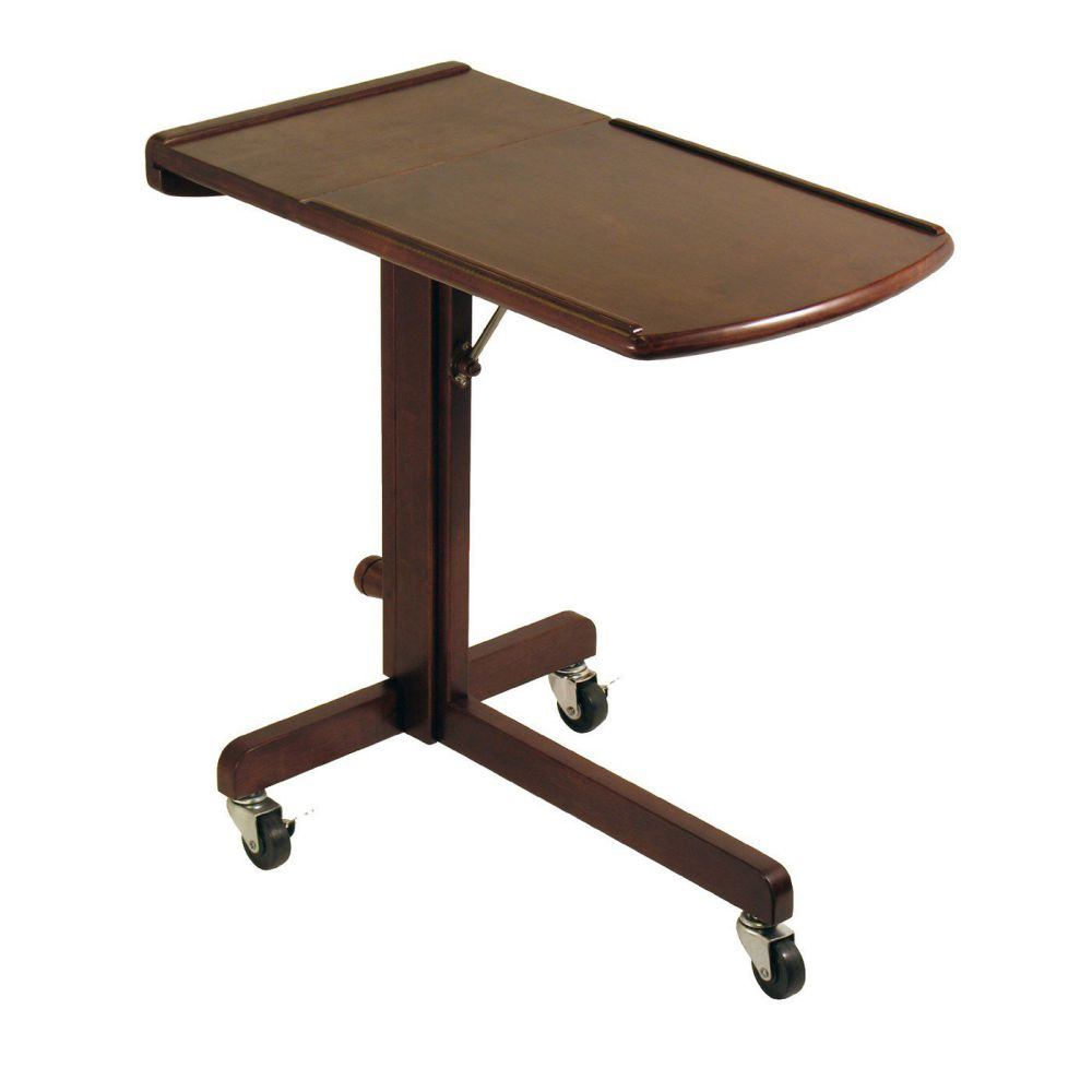 Winsome 94423 Adjustable Laptop Cart in Antique Walnut